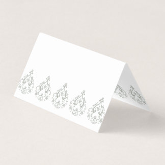 Moss Green Damask Blank Place Cards