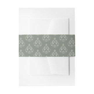 Moss Green  Damask Invitation Belly Bands Invitation Belly Band
