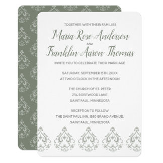 Moss Green  Damask Pattern Wedding Invitation
