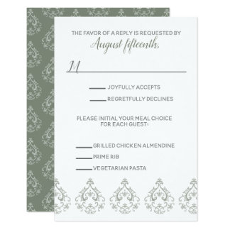 Moss Green  Damask RSVP card with meal selection