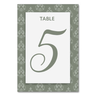 Moss Green  Damask Table Card