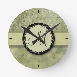 Moss Green Feather Pattern with Monogram Clocks