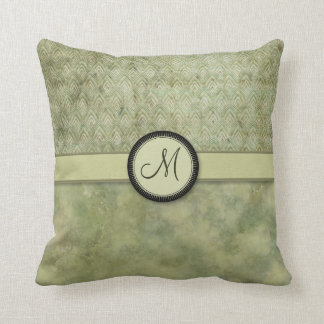 Moss Green Feather Pattern with Monogram Throw Pillow