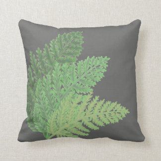 Moss Green Ferns Throw Pillow