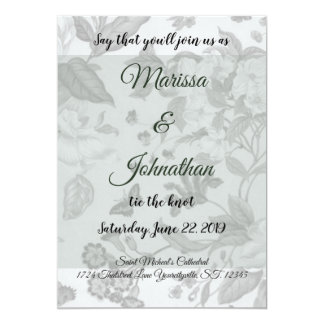 Moss Green Modern Floral Wedding Inviations Card