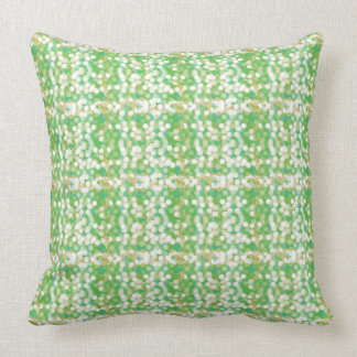 Moss green repeating sparkling lights pattern throw pillow