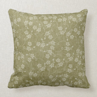 Moss Green Springtime Floral Pillow