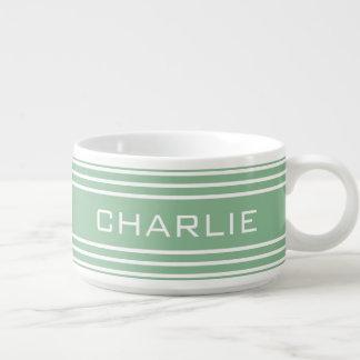 Moss Green Stripes custom monogram chili bowl