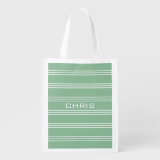 Moss Green Stripes custom monogram reusable bag Reusable Grocery Bags