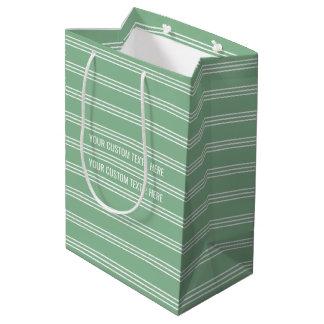 Moss Green Stripes custom text gift bags