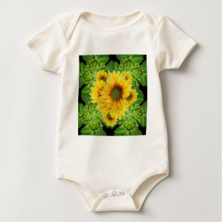 Moss Green Sunflowers-Buds Patterns Gifts Baby Bodysuit