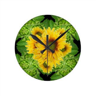 Moss Green Sunflowers-Buds Patterns Gifts Clocks