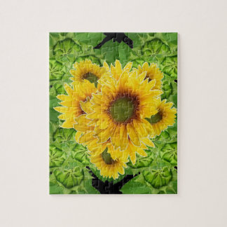 Moss Green Sunflowers-Buds Patterns Gifts Jigsaw Puzzle