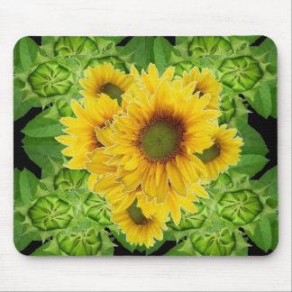 Moss Green Sunflowers-Buds Patterns Gifts Mouse Pad