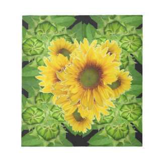 Moss Green Sunflowers-Buds Patterns Gifts Notepad