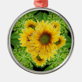 Moss Green Sunflowers-Buds Patterns Gifts Silver-Colored Round Ornament