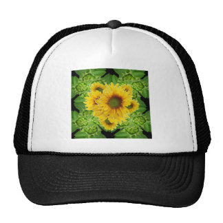 Moss Green Sunflowers-Buds Patterns Gifts Trucker Hat