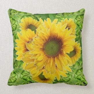 Moss Green Sunflowers-Buds Patterns Throw Pillow