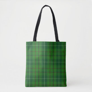 Moss Green Tartan Plaid Tote Bag