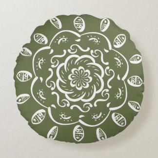 Moss Mandala Round Pillow