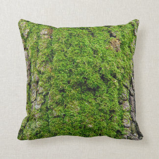 Moss on Dogwood Tree Bark 0291 Throw Pillow