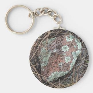 Moss rock lichen basic round button keychain