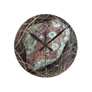 Moss rock lichen round clock