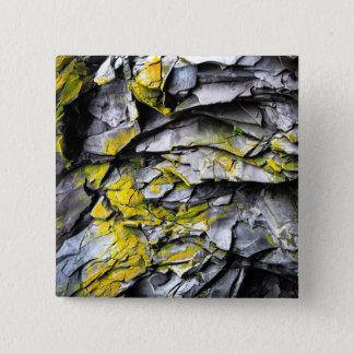 Mossy grey rocks photo 2 inch square button