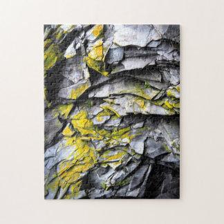 Mossy grey rocks photo jigsaw puzzle
