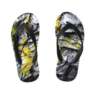 Mossy grey rocks photo kid's flip flops