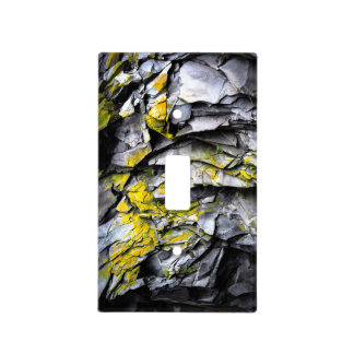 Mossy grey rocks photo light switch cover