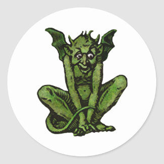 Mossy Little Green Goblin Man Classic Round Sticker