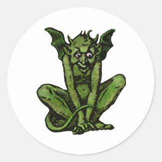 Mossy Little Green Goblin Man Round Sticker