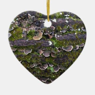 mossy mushroom fun ceramic heart ornament
