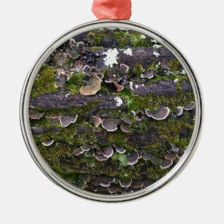 mossy mushroom fun Silver-Colored round ornament