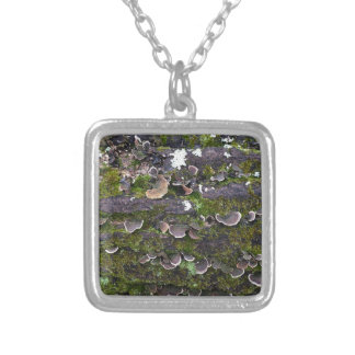 mossy mushroom fun silver plated necklace