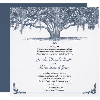 Mossy Oak Tree in Blue Wedding Card