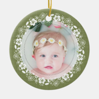 Mossy Plaid Baby Christmas Photo Ornament