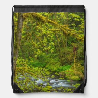Mossy Rocks And Trees Line Eagle Creek Drawstring Backpack