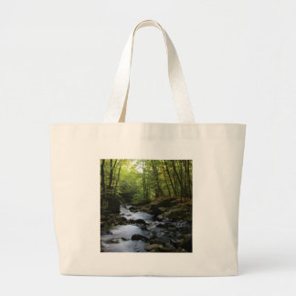 mossy stream in the forest large tote bag