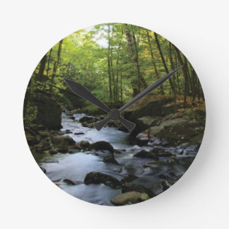 mossy stream in the forest round clock