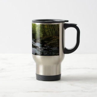 mossy stream in the forest travel mug