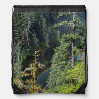 Mossy Tree And Rainbow Above Eagle Creek Drawstring Backpack