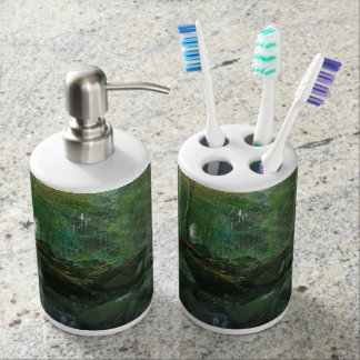 Mossy Woodland Stream Soap Dispenser And Toothbrush Holder