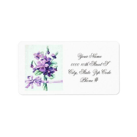 Most Beautiful Vintage Violet Wedding Label