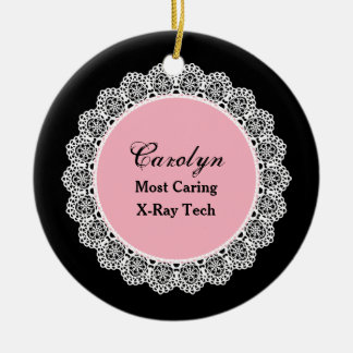 Most Caring X-RAY TECH White Round Lace P08 Ceramic Ornament