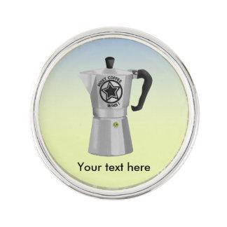 Most Coffee Wins Funny Espresso Maker Lapel Pin
