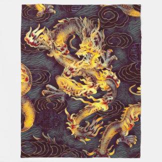 Most Popular Chinese Gold Emperor Dragon Dark Art Fleece Blanket