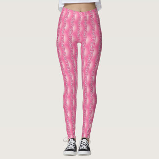 Most Popular Decorative Pink Diamond Roses Pattern Leggings