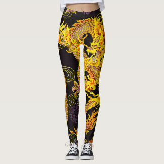 Most Popular Golden Chinese Emperor Dragon Fantasy Leggings